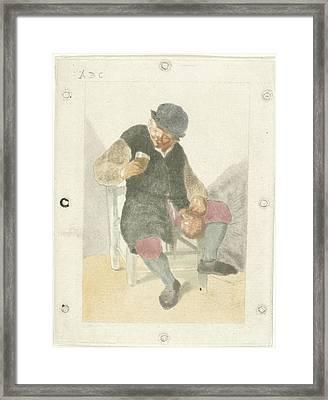 Seated Farmer With Pitcher, Cornelis Ploos Van Amstel Framed Print by Cornelis Ploos Van Amstel And Adriaen Van Ostade