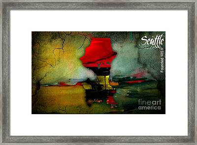 Seattle Map Watercolor Framed Print