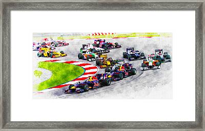Sebastian Vettel Leads The Pack Framed Print
