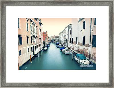 Secluded Canal In Venice Framed Print by Ernst Cerjak