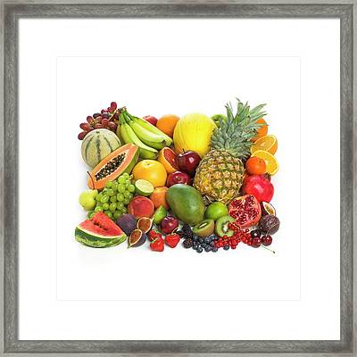 Selection Of Fresh Fruit And Vegetables Framed Print by Science Photo Library