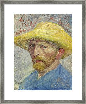 Self-portrait With Straw Hat Framed Print