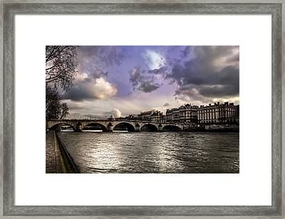 Sena River In Paris After Storm Framed Print by Radoslav Nedelchev