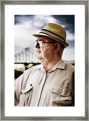 Senior Man Looking To Future Framed Print by Jorgo Photography - Wall Art Gallery