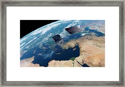 Sentinel-3 Satellite In Orbit Framed Print by Atg Medialab/esa