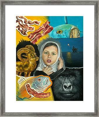 Seven Strips Of Bacon Framed Print by Jordan Mendiola