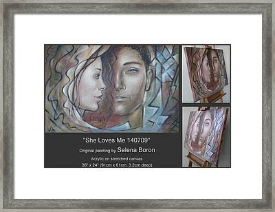 Framed Print featuring the painting She Loves Me 140709 by Selena Boron