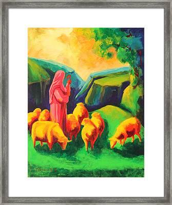 Sheep And Shepherd Painting Bertram Poole Framed Print by Thomas Bertram POOLE