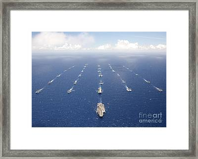 Ships And Submarines Participating Framed Print by Stocktrek Images