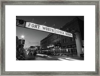 Signboard Over A Road At Dusk, Fort Framed Print