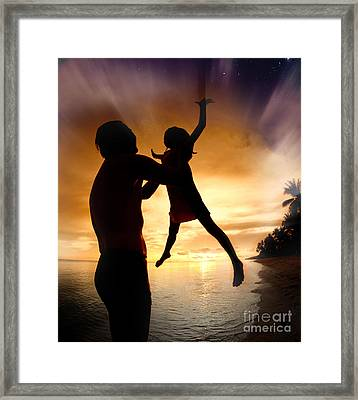 Silhouette Family Of Child Hold On Father Hand Framed Print by Anek Suwannaphoom