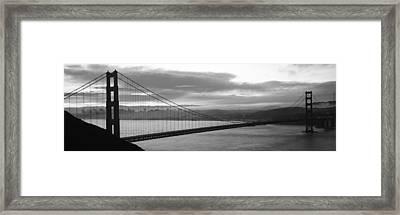 Silhouette Of A Suspension Bridge Framed Print