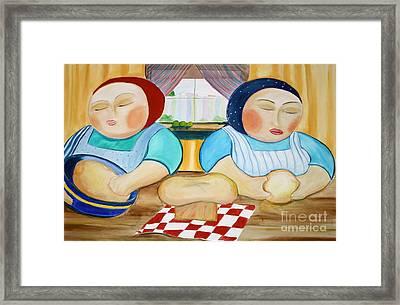 Sisters Baking Framed Print by Teresa Hutto