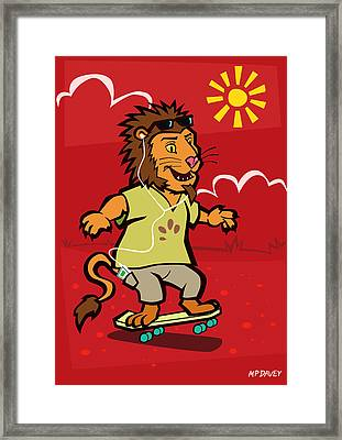 skateboarding Lion  Framed Print