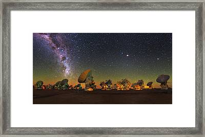 Sky Above Alma Radio Telescope Framed Print by Babak Tafreshi