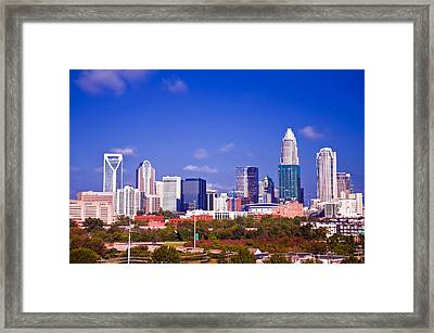 Skyline Of Uptown Charlotte North Carolina At Night Framed Print by Alex Grichenko