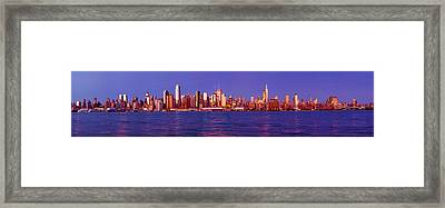 Skyscrapers At The Waterfront, Midtown Framed Print