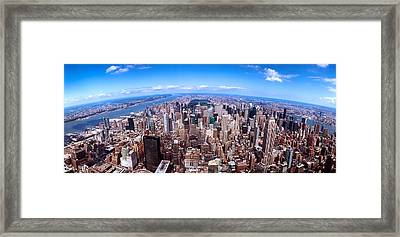 Skyscrapers In A City, Manhattan, New Framed Print
