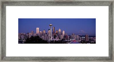 Skyscrapers In A City, Seattle Framed Print