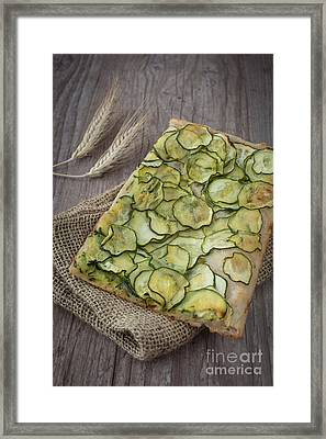 Sliced Pizza With Zucchini Framed Print