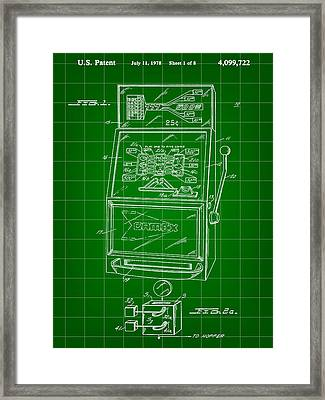 Slot Machine Patent 1978 - Green Framed Print by Stephen Younts