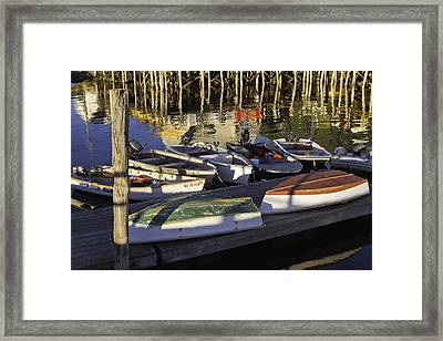 Small Boats And Dock In Port Clyde Maine Framed Print