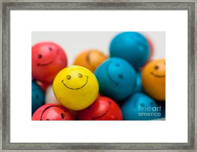 Smiley Face Gum Balls Framed Print