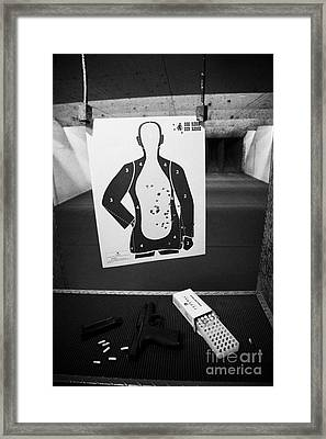 Smith And Wesson 9mm Handgun With Ammunition At A Gun Range In Florida Usa Framed Print by Joe Fox