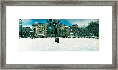 Snow Covered Park, Union Square Framed Print