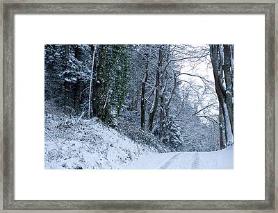 Snow Covered Road Passing Framed Print by Panoramic Images