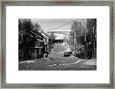 Snow Covered Street Of Traditional Wooden Houses In Kirkenes Finnmark Norway Europe Framed Print