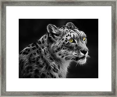 Framed Print featuring the digital art Snow Leopard by Nina Bradica
