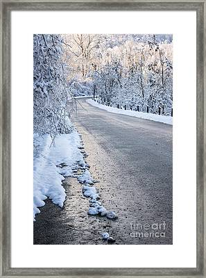 Snow On Winter Road Framed Print by Elena Elisseeva