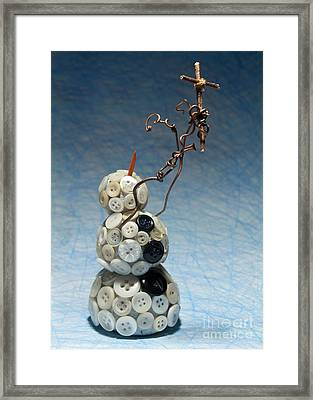 Snowman Holding Christian Cross Christmas Card Framed Print