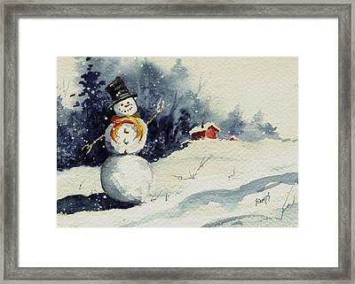 Snowman Framed Print by Sam Sidders