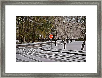 Framed Print featuring the photograph Snowy Street by Linda Brown