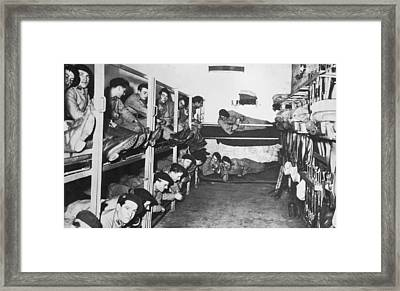 Soldiers On The Maginot Line Framed Print by Underwood Archives