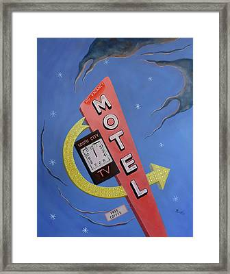 Framed Print featuring the painting South City Motel by Sally Banfill