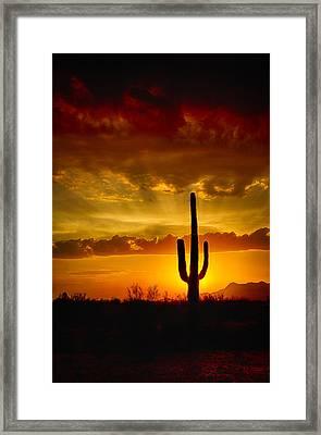 Southwestern Style Sunset  Framed Print by Saija  Lehtonen