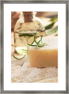 Spa Setting With Bath Salt And Floral Water Framed Print