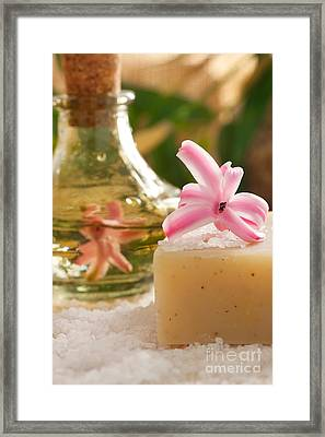 Spa Setting With Flower Framed Print by Mythja  Photography