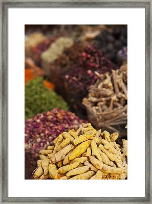 Spices For Sale In Spice Market Dubai Framed Print by Ian Cumming