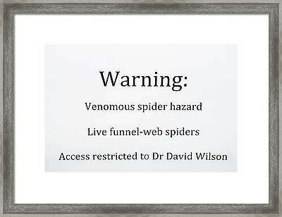 Spider Venom Research Framed Print by Louise Murray