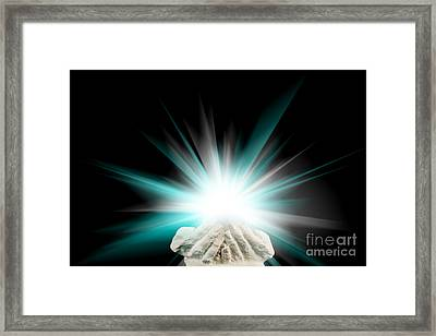 Spiritual Light In Cupped Hands On A Black Background Framed Print by Simon Bratt Photography LRPS