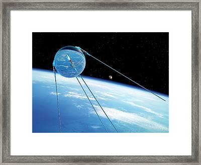 Sputnik 1 In Orbit Framed Print