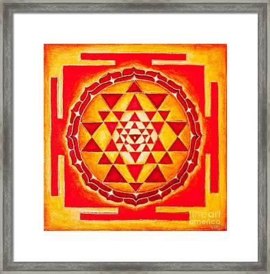 Sri Yantra For Meditation Painted Framed Print by Raimond Klavins