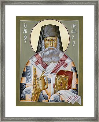 St Nektarios Of Aegina Framed Print by Julia Bridget Hayes