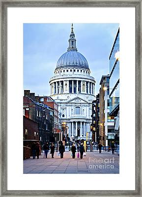 St. Paul's Cathedral London At Dusk Framed Print
