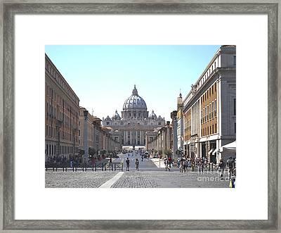 St Peter Basilica Viewed From Via Della Conciliazione. Rome Framed Print by Bernard Jaubert