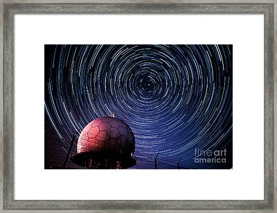 Star Trails And Radar Globe Framed Print by Eszter Kovacs